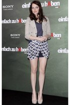 off white blazer - deep purple top - checkered skirt - off white pumps
