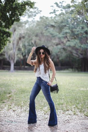 white Express top - navy Express jeans - black Rebecca Minkoff bag