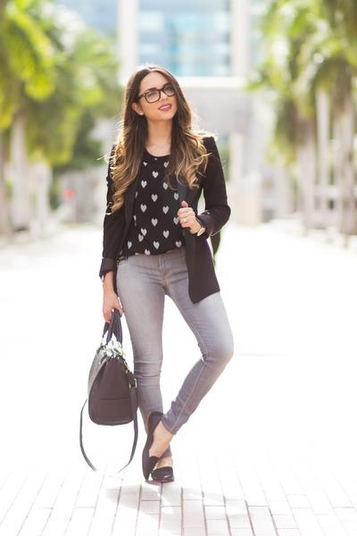 black melao blazer - silver lycra brand Hudson jeans - black Danielle Nicole bag