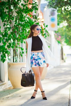 black crop top furor moda shirt - black Danielle Nicole bag