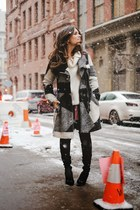 charcoal gray desigual coat - black Guess boots - camel Dailylook sweater