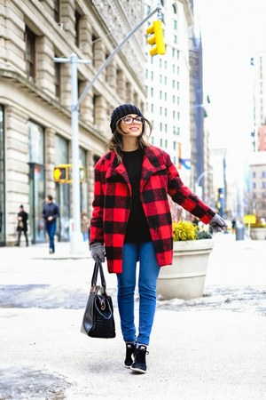 red Shoppiin coat - blue AG Jeans jeans - black ted baker bag