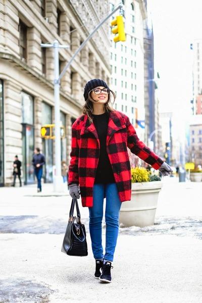 red Shoppiin coat - blue AG Jeans jeans - black ted baker bag