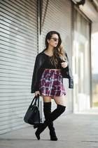 black lulus blouse - black AG Jeans jacket - black Guess shirt - black Tous bag