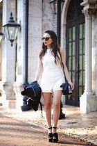 white BB Dakota romper - black Nasty Gal shoes - navy Danielle Nicole bag