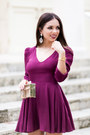 Magenta-backless-lovers-and-friends-dress-gold-movado-watch