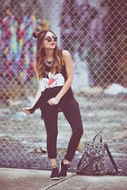 black JCPenney leggings - white backpack Express bag