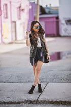 purple saint sal skirt - black ankle boots H&M boots