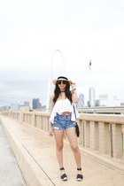 black Rebecca Minkoff bag - light blue Levis shorts