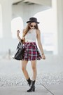 Black-guess-boots-black-forever-21-hat-white-american-apparel-shirt