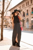 black H&M hat - hot pink kate spade bag - black Ray Ban sunglasses