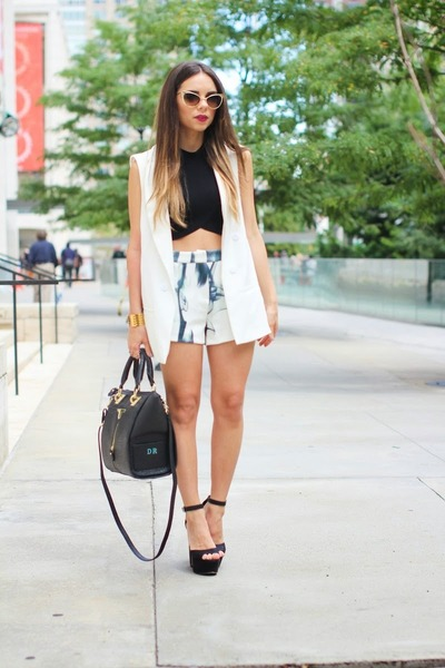 black furor moda shirt - black Steve Madden shoes - black Danielle Nicole bag