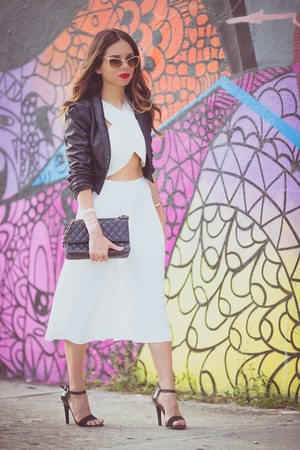 black faux leather H&M jacket - black Chanel bag - gold zeroUV sunglasses