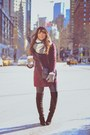 Black-guess-boots-maroon-asos-coat-heather-gray-dailylook-scarf