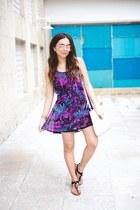 black Guess sandals - violet Guess dress