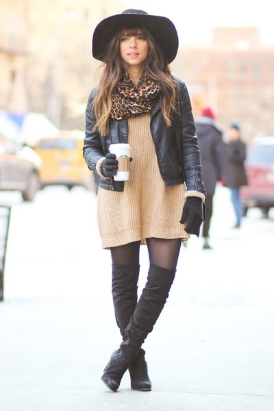 black Guess boots - black H&M hat - tan Dailylook sweater - black Express scarf