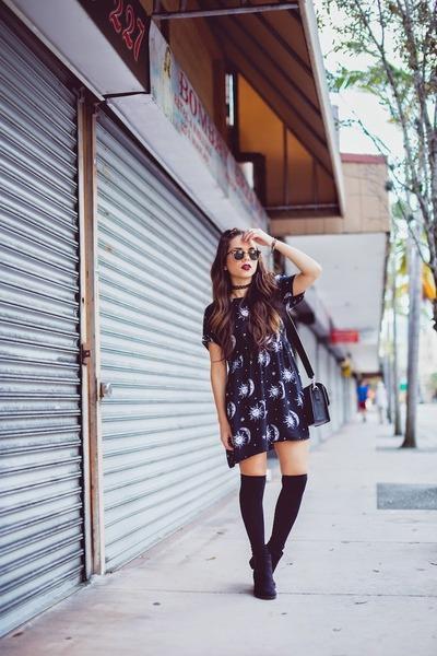 black H&M boots - black Motel Rocks dress - black Marc by Marc Jacobs bag