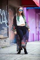 black kimono PacSun jacket - black ankle boots H&M boots