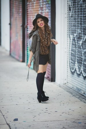 black ankle booties Sole Society boots - forest green military Sugarlips jacket
