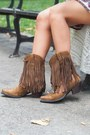 Light-brown-fringe-ariat-boots-ruby-red-paisley-alloy-apparel-dress