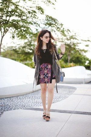 black Joa skirt - tan Call it Spring shoes - blue 3 lily pads bag
