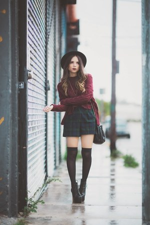 forest green plaid Topshop shorts - black litas Jeffrey Campbell boots