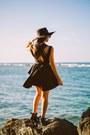 Black-pink-and-pepper-boots-black-romwe-dress-black-h-m-hat