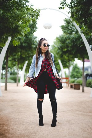 light blue Forever 21 jacket - black H&M boots - black asos jeans