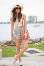 ivory crochet Ocean Minded shoes - cream 2020AVE shirt - black Shoppiin shorts