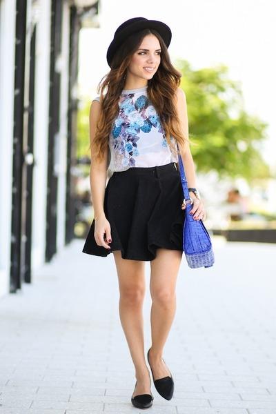 blue brahmin bag - black H&M shoes - black Forever 21 hat