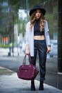 Black-h-m-shoes-black-oasap-hat-magenta-kipling-bag