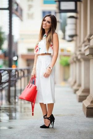 white crop top shoppin top - black Shoedazzle shoes - red Henri Bendel bag