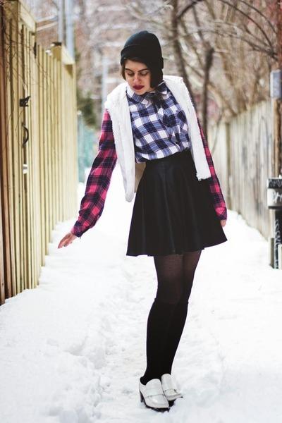 hot pink flannel Rails blouse - white faux fur vintage vest