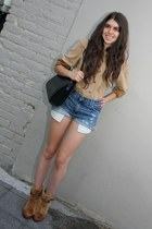 vintage blouse - vintage boots - Gucci bag - DIY shorts