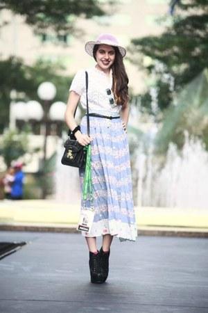 light pink vintage hat - black vintage bag - sky blue vintage skirt