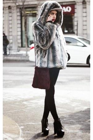 charcoal gray faux fur vintage coat