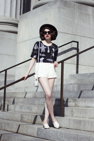 black wool H&M hat - white vintage purse - ivory lace Walmart shorts