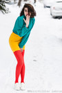 Red-american-apparel-tights-gold-h-m-skirt-turquoise-blue-vintage-blouse
