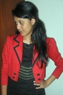Red-bloop-blazer-black-pink-label-dress-gray-yuan-jeans-red-wondershoe-sho