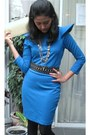 Blue-retail-therapy-dress-black-zara-belt-black-retail-therapy-shoes-gold-