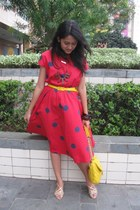 pink dress - gold shoes - yellow purse - brown accessories - yellow belt