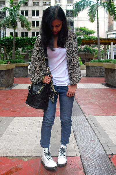new products latest fashion where can i buy White Dr Martens Boots, Blue Uniqlo Jeans, Black From ...