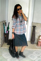 moms old top - ages ago skirt - Zara boots - Roxy bag - Ray Ban sunglasses