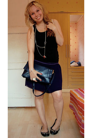 black Miss Selfridge top - purple Bik Bok skirt - blue thrifted purse - black Li