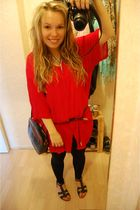 red Hennes dress - black unknown leggings - blue unknown belt - blue unknown pur