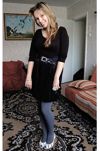 black Atmosphere shirt - blue Global skirt - gray seppl tights - white Coolgirl