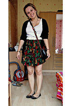 white next top - black Vero Moda cardigan - black Mums skirt - black LiNK shoes