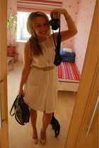 white Vero Moda dress - beige unknown belt - beige Zara shoes - brown unknown pu