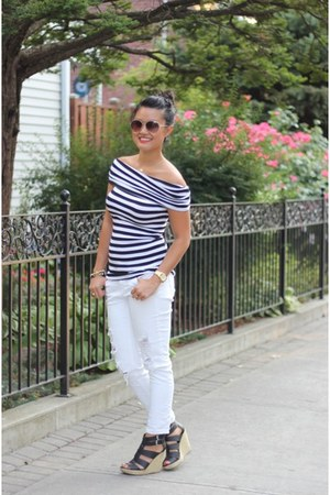 striped Club Monaco top - white denim VS pink jeans - Anthropologie sunglasses