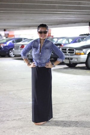 black maxi Old Navy skirt - jean Joe Fresh jacket
